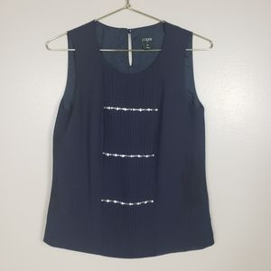 🌵J. CREW Navy Sparkle Pleated Loose Fit Tank Top